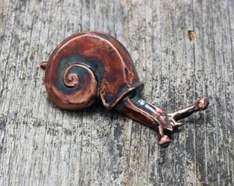 Garden Snail Sculpture in copper