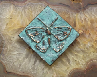 Butterfly Tile - blue green copper patina