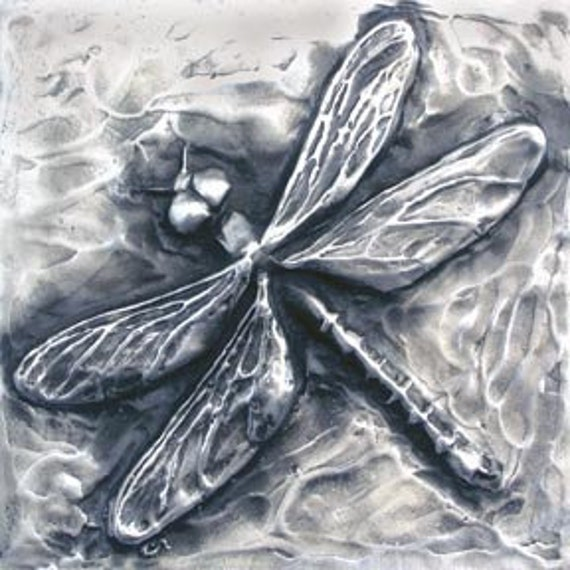 Dragonfly Bas Relief Sculpture Plaque in fine silver pewter