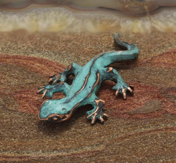 Little Newt Sculpture Copper With Blue Green Patina