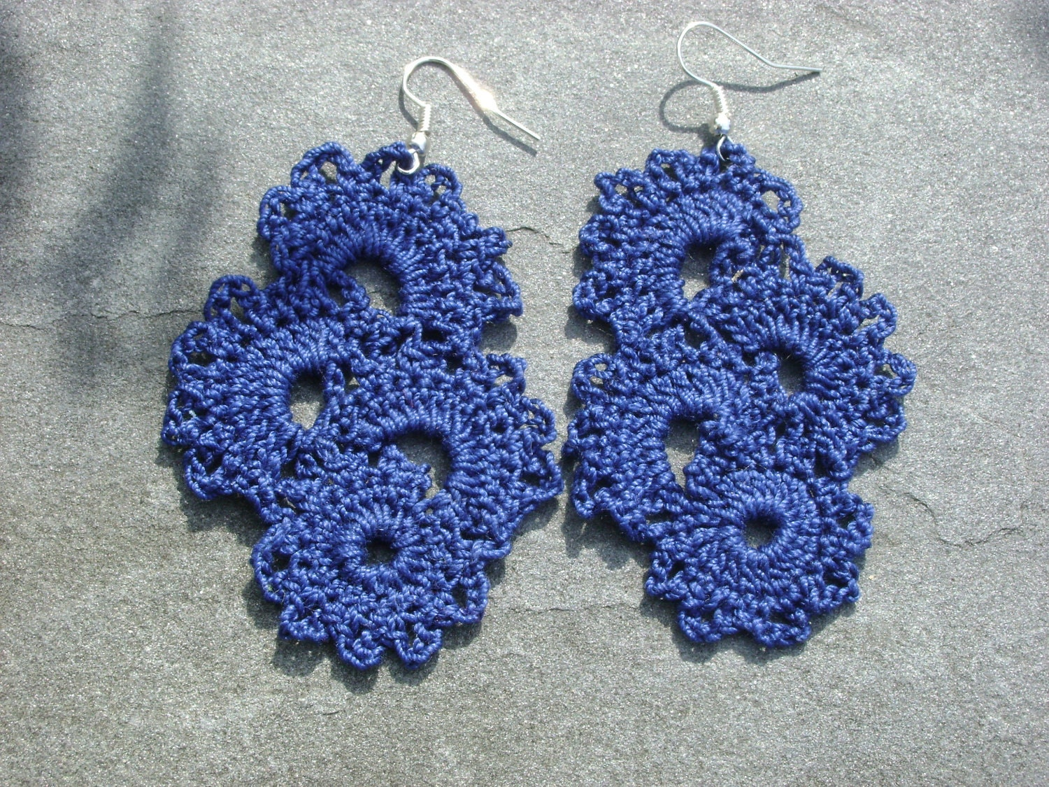 Crochet Earrings : Reserved For Brittany Blue Crochet Earrings by EclectionsGifts