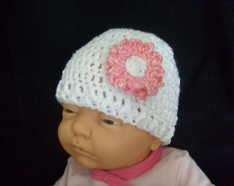 White 0-3 Months Baby Hat/Beanie - Pick Color of Double Blosom Flower