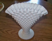 Vintage Milkglass Fan Shaped Vase with Hobnail Design and Ruffled Trim