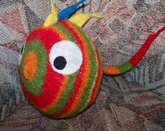 One-of-a-Kind Rasta Vintage Handmade Puffer Fish Plush Doll - Rainbow Wool -