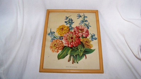Vintage 11x9 Framed Print Signed by Witzleben -Zinnias Delphiniums Flowers- Excellent