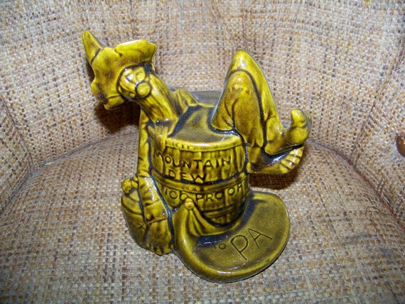 Vintage Mountain Dew Hillbilly In a Barrel Ceramic Statue -Unique-
