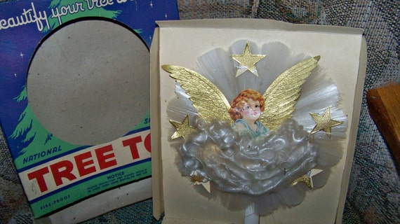 Vintage Spun Glass Angel Christmas Tree Topper with Original Box -Very Old-