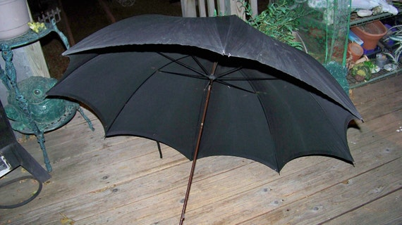 Vintage Large Umbrella with Wooden and Ornate Vintage Handle