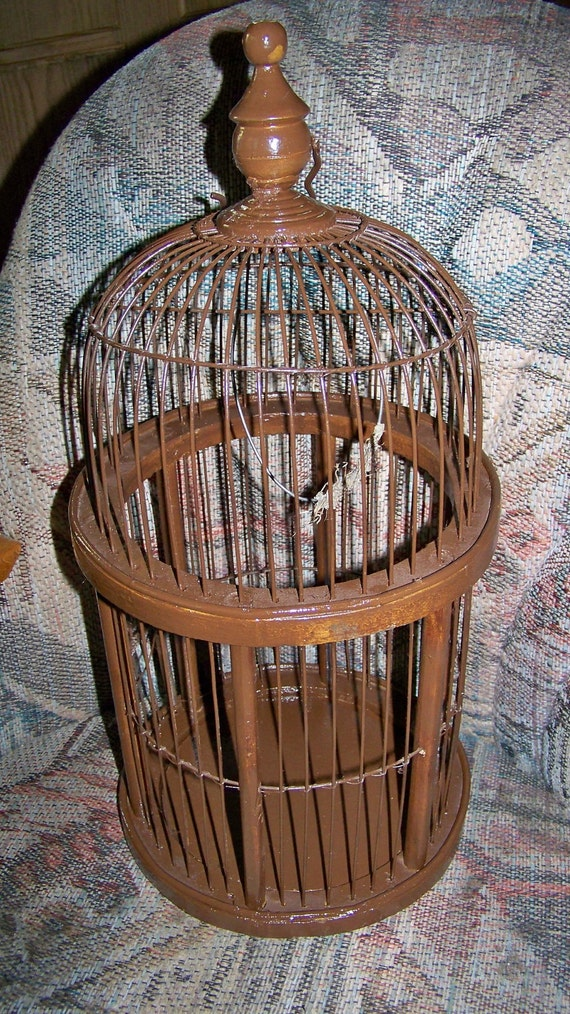 Very Old Vintage Antique Birdcage with Rounded Top - Brown -