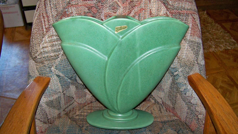 Huge Vintage Royal Haeger Pottery Flower Ware Green Vase