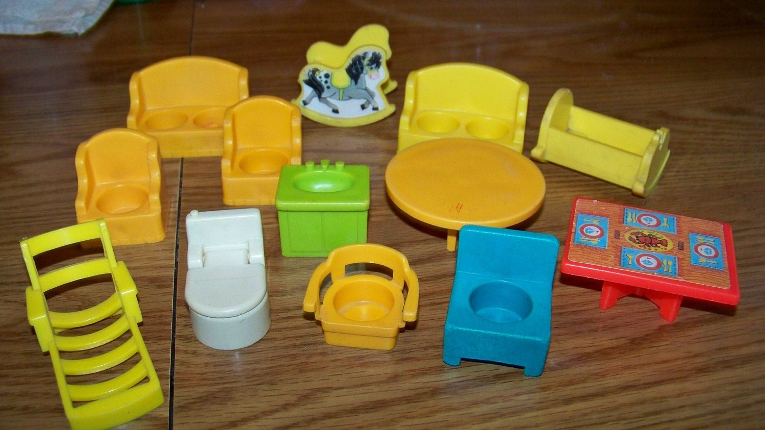 vintage lot of fisher price little people furniture