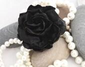 Elegant Black Rose Brooch or Clip