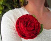 Red Rosette Brooch or Clip