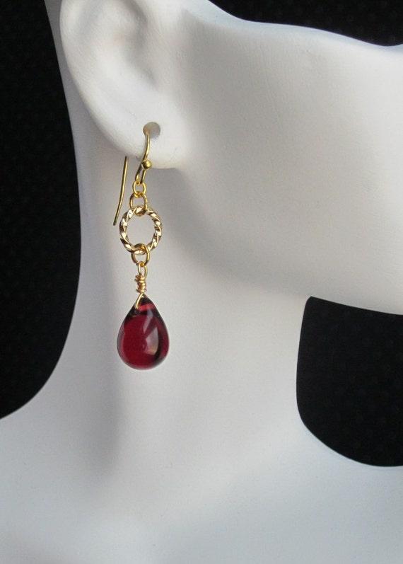 wire wrapped red garnet earrings glass teardrops