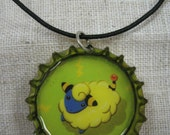 Mareep- bottlecap handmade necklace