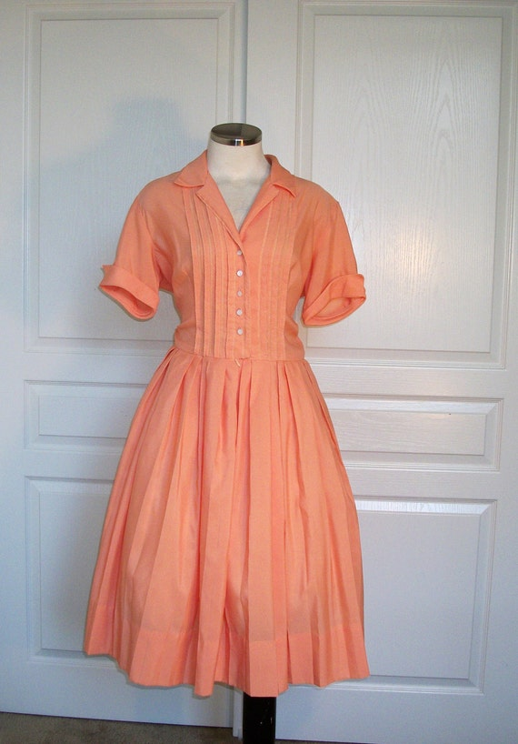 60s dress // vintage 1960s shirtwaist casual day dress med