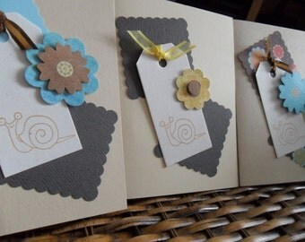 Snail trio - set of 3 blank cards with envelopes
