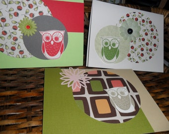 Mr Owl - set of 3 cards with envelopes