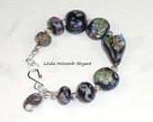 Bracelet of Lampwork Raku Glass Beads