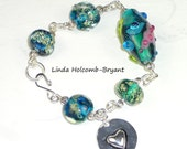 Aqua Lampwork Beaded Bracelet
