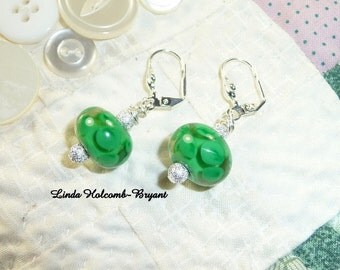 Green Flamework Beaded Earrings