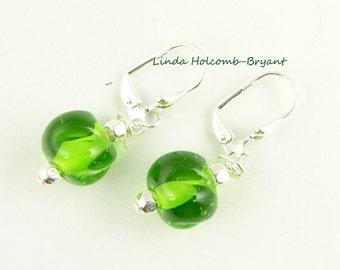 Green Handmade Lampwork Glass Bead Earrings