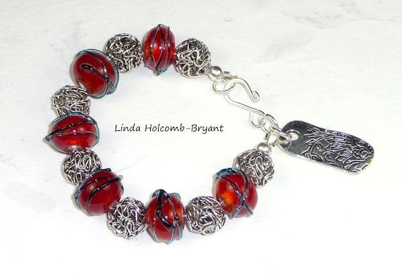 Red Lampwork Beaded Bracelet