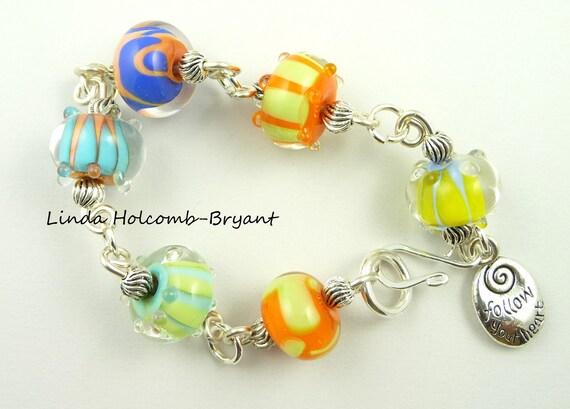 Silver Fiesta Bracelet with Lampwork Beads