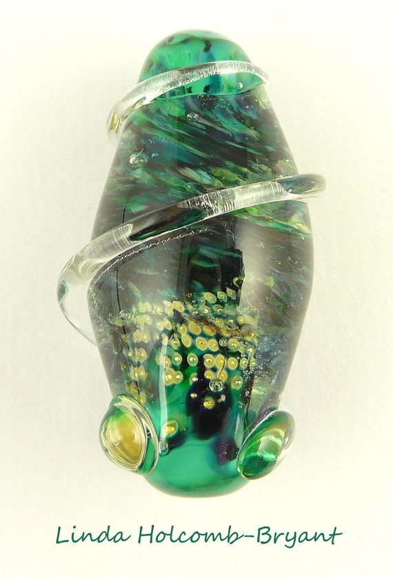 Green & Silver Lampwork Glass Focal Bead