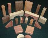 Wood  building blocks of red cedar, cherry, walnut and sweet gum (20 pc. set)