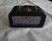 Trinity Antique Brass Cross Small Purple Lavender Balck Goth Gothic Wood Purse Handbag Box
