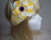 Lovely Ombre Yellow/White  Flowered Headband