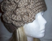 Lovely Chunky Taupe Flowered Headband READY TO SHIP