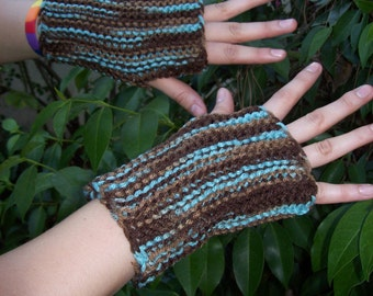 Lovely Browns and Turquoise Fingerless Gloves