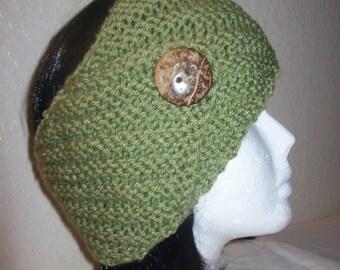 Lovely Dust Green Headband/Headwrap/Earwarmer/Ski Headband Knitted With Coconut Button