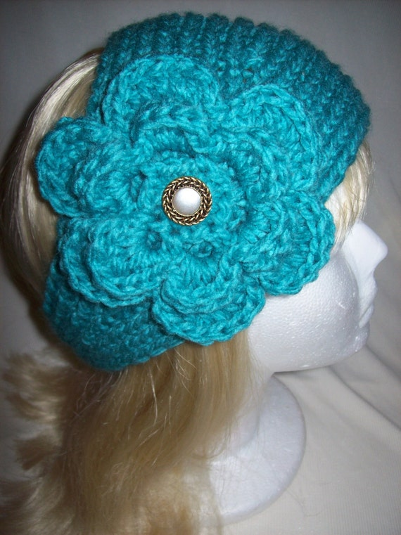 Lovely Turquoise Flowered/Headwrap Headband READY TO SHIP