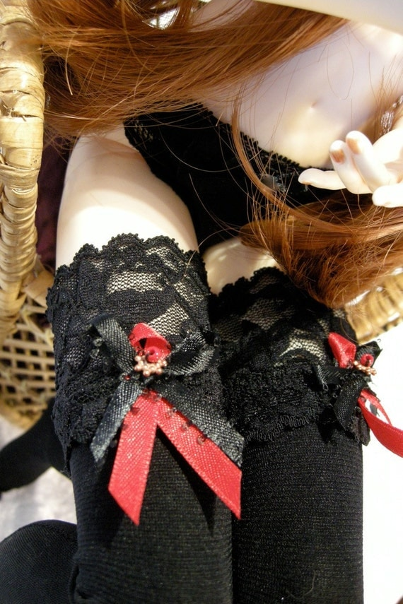 doll clothes BJD Black thigh high stockings