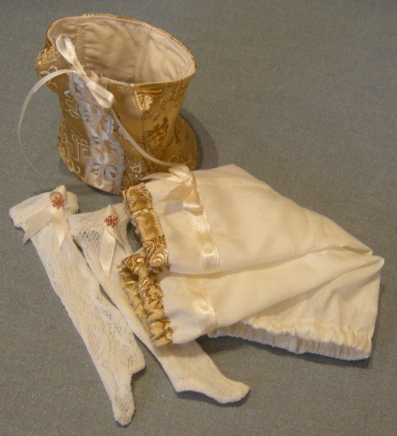 BJD clothing Pretty pale yellow and ivory undergarments set
