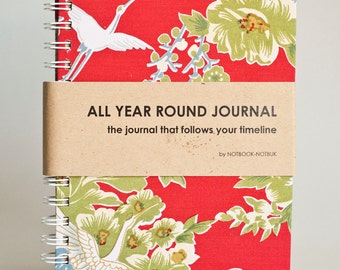 All Year Round Timeless Journal / Planner (Self filled dates, fabric wrapped) - Red Japanese Flying Phoenix