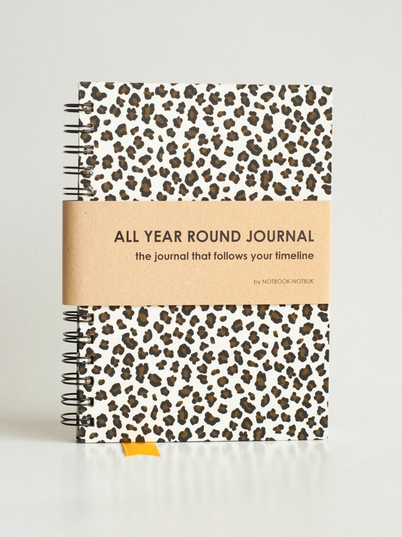 All Year Round Timeless Journal (Self filled dates, months & years, fabric wrapped) - Leopard Print