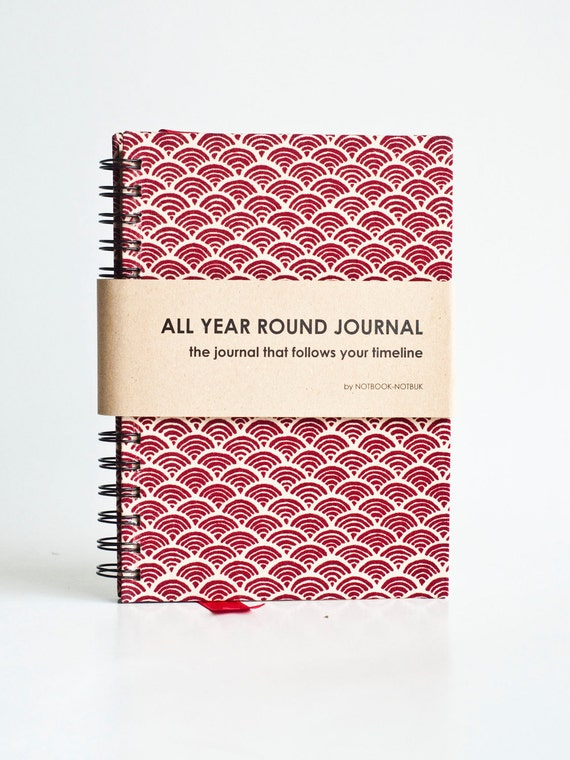 Weekly Planner A5 Size (Undated) All Year Round Timeless Journal - Japanese Wave in Maroon Red