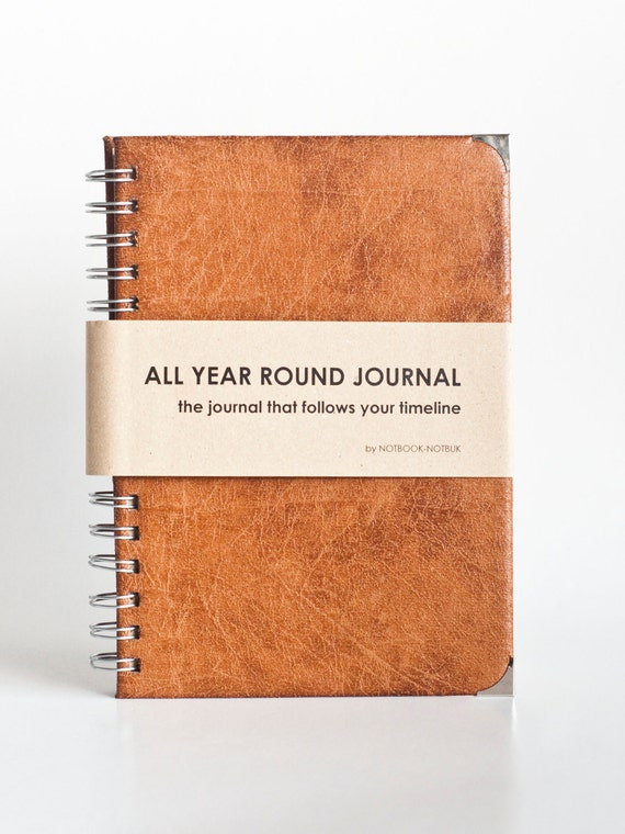 All Year Round Timeless Journal (Self filled dates, months & years, fabric wrapped) - PU Leather