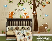 Children Wall Decal Wall Sticker Tree Decal - Forest Friends - Custom Name Nursery Wall Decals - KK116