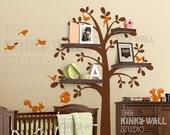 Kids Wall Decal Wall Sticker tree decal Vinyl decal  - Shelving Tree with animal - Nursery Decal- KK125