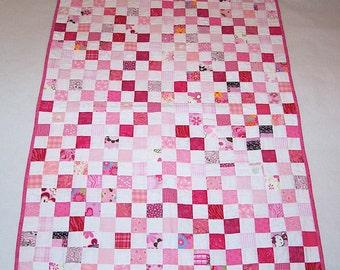 Handmade pink & white baby/toddler quilt