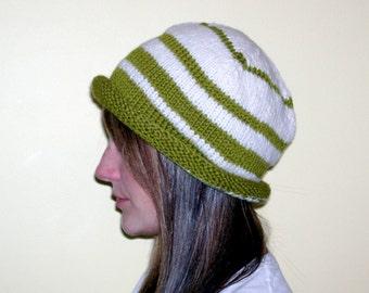 Green & white striped handknitted wool hat
