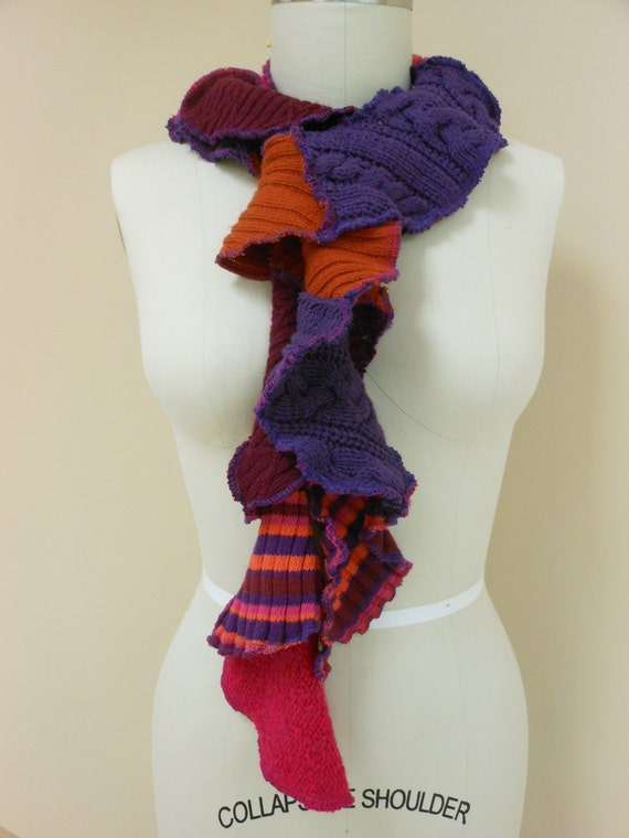 Recycled Sweater Twisty Scarf in Purples and Multistripe
