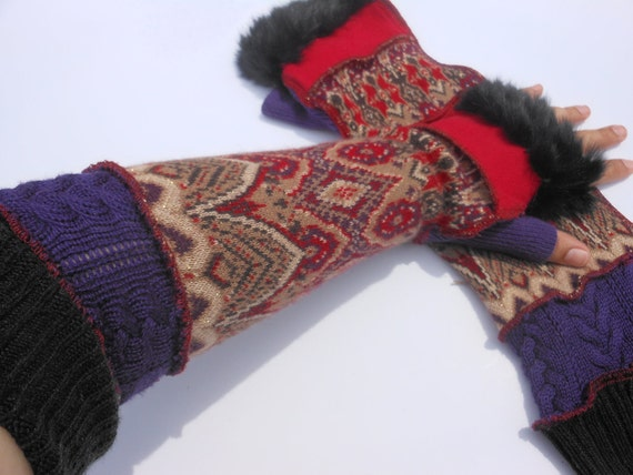 Recycled Sweater Arm Warmers Extra Extra Long Sleeve Fairy Gloves