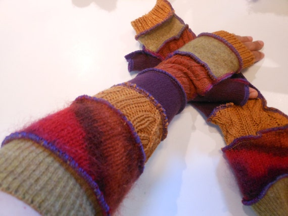 Extra Long Recycled Sweater Sleeves Arm Warmers