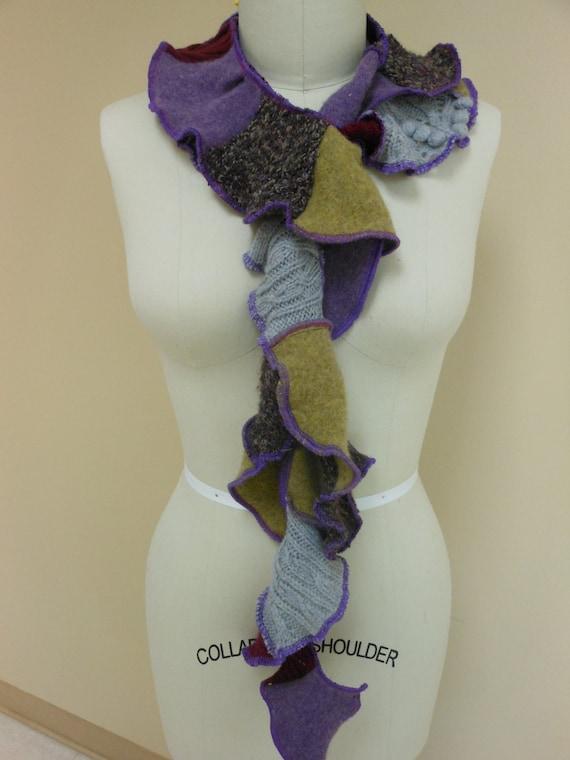 Recycled Sweater Twisty Scarf Purple